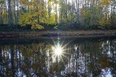 Riflessione del sole in acqua fotografie stock