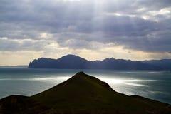 Riflessione del sole nel Mar Nero Fotografia Stock Libera da Diritti