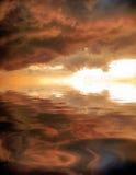 Riflessione del tramonto in acqua illustrazione di stock
