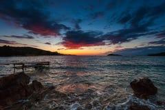 Riflessione del tramonto del mare Fotografia Stock Libera da Diritti