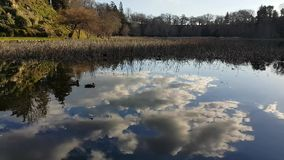 Riflessione dell'acqua delle nuvole e del cielo blu bianchi archivi video