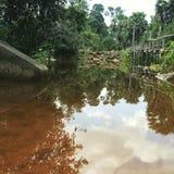 Riflessione dell'acqua vicino al tempio Siam Reap di Bonteay Kdey Fotografia Stock Libera da Diritti