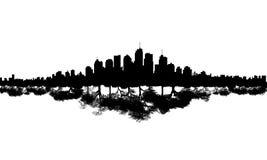 Riflessione dell'albero dell'orizzonte della città Immagine Stock