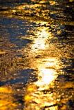 Riflessione dell'indicatore luminoso elettrico nella pioggia Immagine Stock