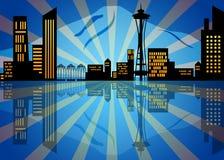 Riflessione dell'orizzonte della città di Seattle alla notte Fotografia Stock