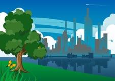 Riflessione della città illustrazione di stock