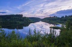 Riflessione della foresta del lago night Fotografie Stock