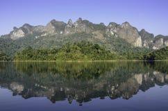 Riflessione della foresta della montagna Fotografie Stock Libere da Diritti