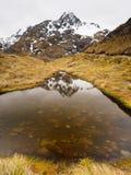 Riflessione della montagna della neve in lago tranquillo, pista di Routeburn Fotografie Stock Libere da Diritti