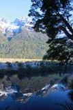 Riflessione 9416 della montagna di Snowy Fotografia Stock