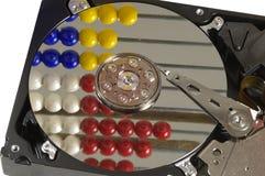 Riflessione della struttura di conteggio nella superficie del disco fisso Fotografie Stock Libere da Diritti
