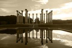 Riflessione delle colonne del Campidoglio nazionale nello stagno in arboreto Fotografia Stock