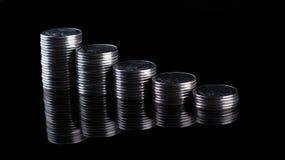 Riflessione di finanza e profitto di affari monete del metallo Immagine Stock