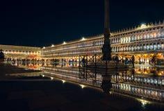 Riflessione di notte di San Marco Fotografie Stock Libere da Diritti