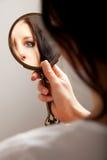 Riflessione di specchio di un occhio Fotografia Stock