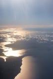 Riflessione di Sun dall'aeroplano Immagini Stock Libere da Diritti