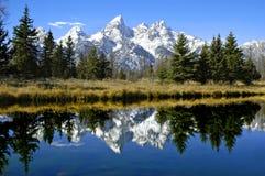 Riflessione di Tetons in fiume fotografia stock libera da diritti