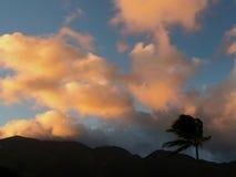 Riflessione di tramonto sopra le montagne immagini stock