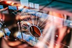 Riflessione elettronica del LED dello spazio rosa dello starburst Fotografia Stock