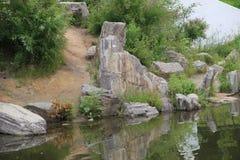 Riflessione nell'acqua delle rocce e degli alberi Fotografia Stock