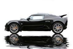 Riflessione nera sportcar Immagine Stock