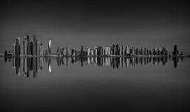 Riflessione stupefacente di panorama del porticciolo del Dubai, Dubai, Emirati Arabi Uniti Fotografie Stock Libere da Diritti