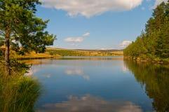 Riflessione sul lago sulla montagna di Zlatibor fotografia stock
