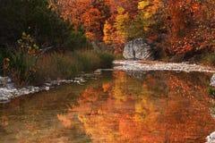 Riflessioni del fiume di autunno Fotografie Stock