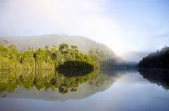 Riflessioni del fiume di Pieman di primo mattino, wi di Tarkine immagini stock libere da diritti