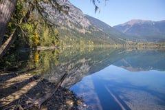 riflessioni del tipo di specchio che mostrano il lago birkenhead, BC nei colori di caduta Immagini Stock Libere da Diritti