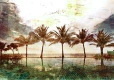 Riflessioni delle palme fotografia stock