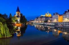 Riflessioni di Metz alla notte Fotografia Stock