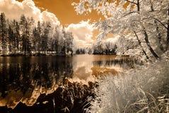 Riflessioni nel lago Immagine infrarossa Fotografia Stock Libera da Diritti