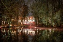 Riflessioni più forrest magiche illuminate sull'acqua fotografie stock