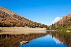 Riflessioni su acqua, panorama di autunno dal lago della montagna Immagine Stock Libera da Diritti