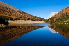 Riflessioni su acqua, panorama di autunno dal lago della montagna Fotografia Stock Libera da Diritti