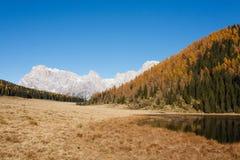 Riflessioni su acqua, panorama di autunno dal lago della montagna Immagini Stock Libere da Diritti