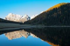Riflessioni su acqua, panorama di autunno dal lago della montagna Immagini Stock