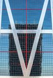 Riflessioni urbane in costruzioni Immagini astratte deformando mirrorsabstra immagini stock