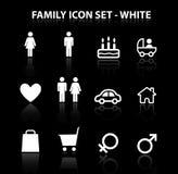Rifletta l'icona della famiglia impostata (bianco) Immagini Stock Libere da Diritti