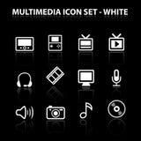 Rifletta l'insieme dell'icona di multimedia Fotografia Stock
