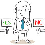 Riflettendo uomo d'affari che scelgono in mezzo SÌ e NO Immagine Stock