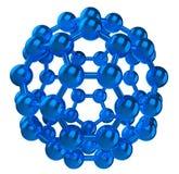 Riflettenti blu fulleren la struttura molecolare Immagini Stock Libere da Diritti