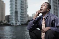 riflettere dell'uomo d'affari Fotografia Stock Libera da Diritti