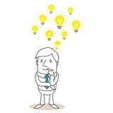 Riflettere uomo d'affari con parecchie lampadine Immagine Stock Libera da Diritti