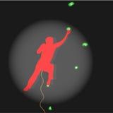 Riflettore illuminato concorsi rampicante dello scalatore Immagine Stock
