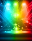 Riflettori magici con i raggi del Rainbow Immagini Stock Libere da Diritti