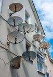 Riflettori parabolici su costruzione Fotografia Stock