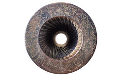 Rifling in Cannon. Helical Grooves in the barrel of an Old Cannon Stock Photo