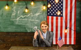 Riforma americana di istruzione alla scuola nel 4 luglio Festa dell'indipendenza di U.S.A. Pianificazione di reddito della politi Fotografia Stock Libera da Diritti